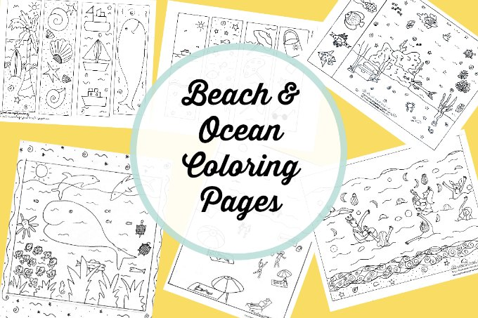 Free beach and ocean themed coloring pages