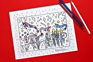 Memorial Day parade coloring page for kids