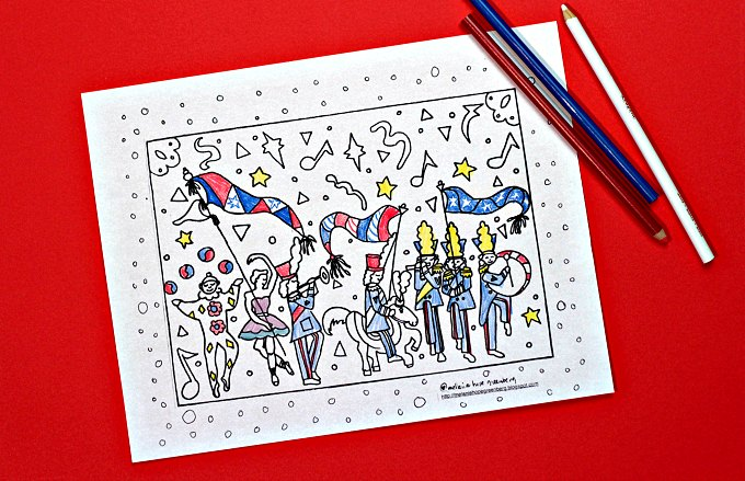 Memorial Day Parade Coloring pages and pencils
