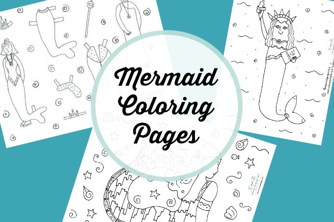 A collection of mermaid coloring pages