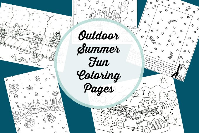 Summer fun coloring pages about camping, swimming and the night sky