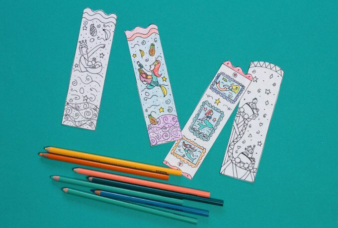 DIY mermaid bookmarks with free coloring page