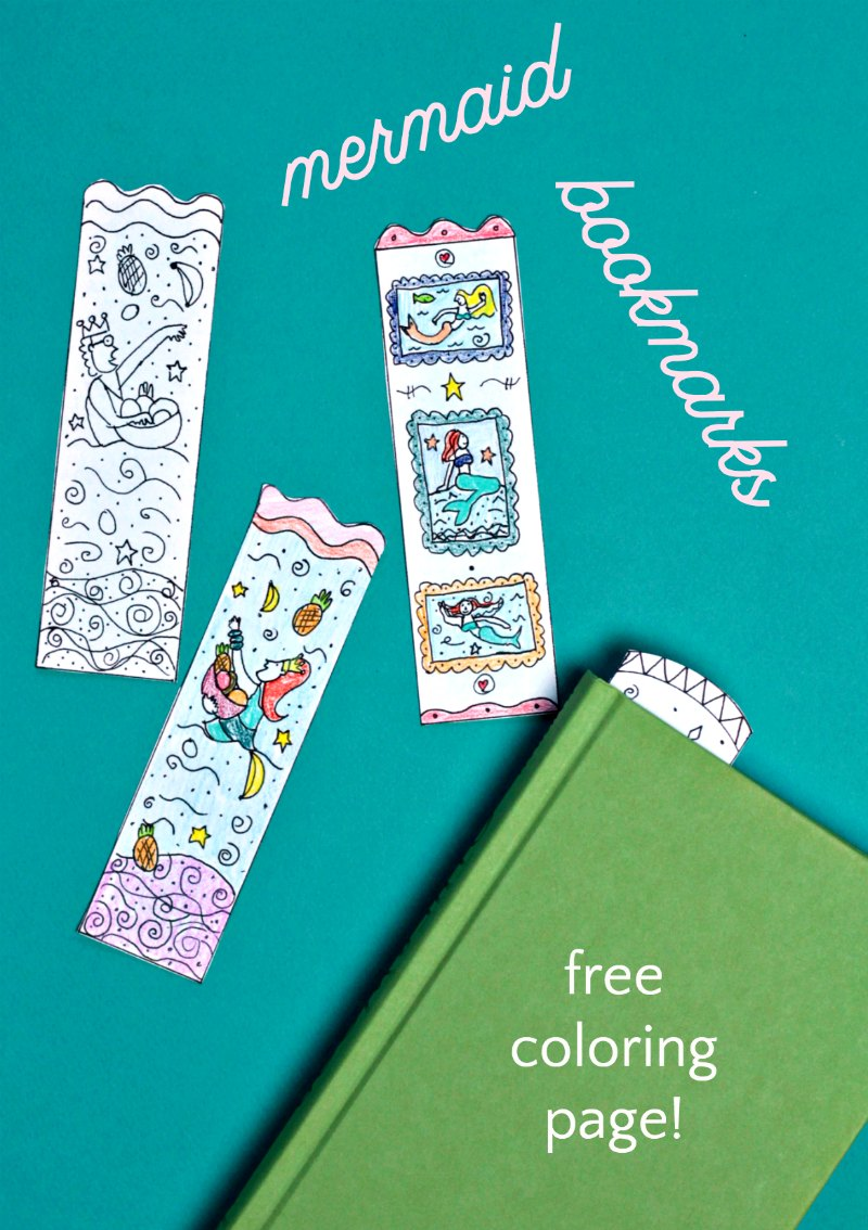 Make your own printable mermaid bookmarks