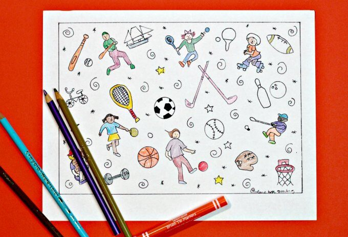 Sports coloring page printable
