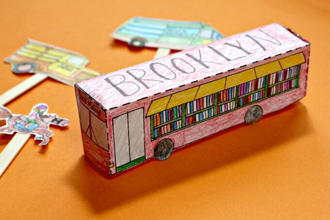 Finished bookmobile template and coloring page