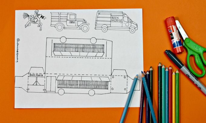 Template for making a paper bookmobile