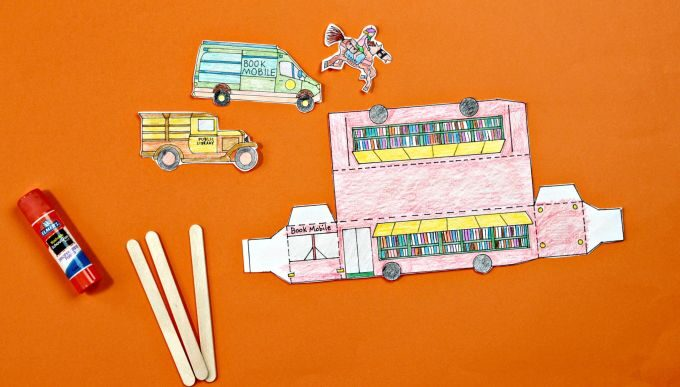Items for paper bookmobile assembly