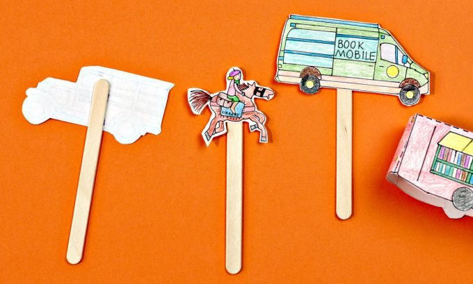 How to make bookmobile stick puppets