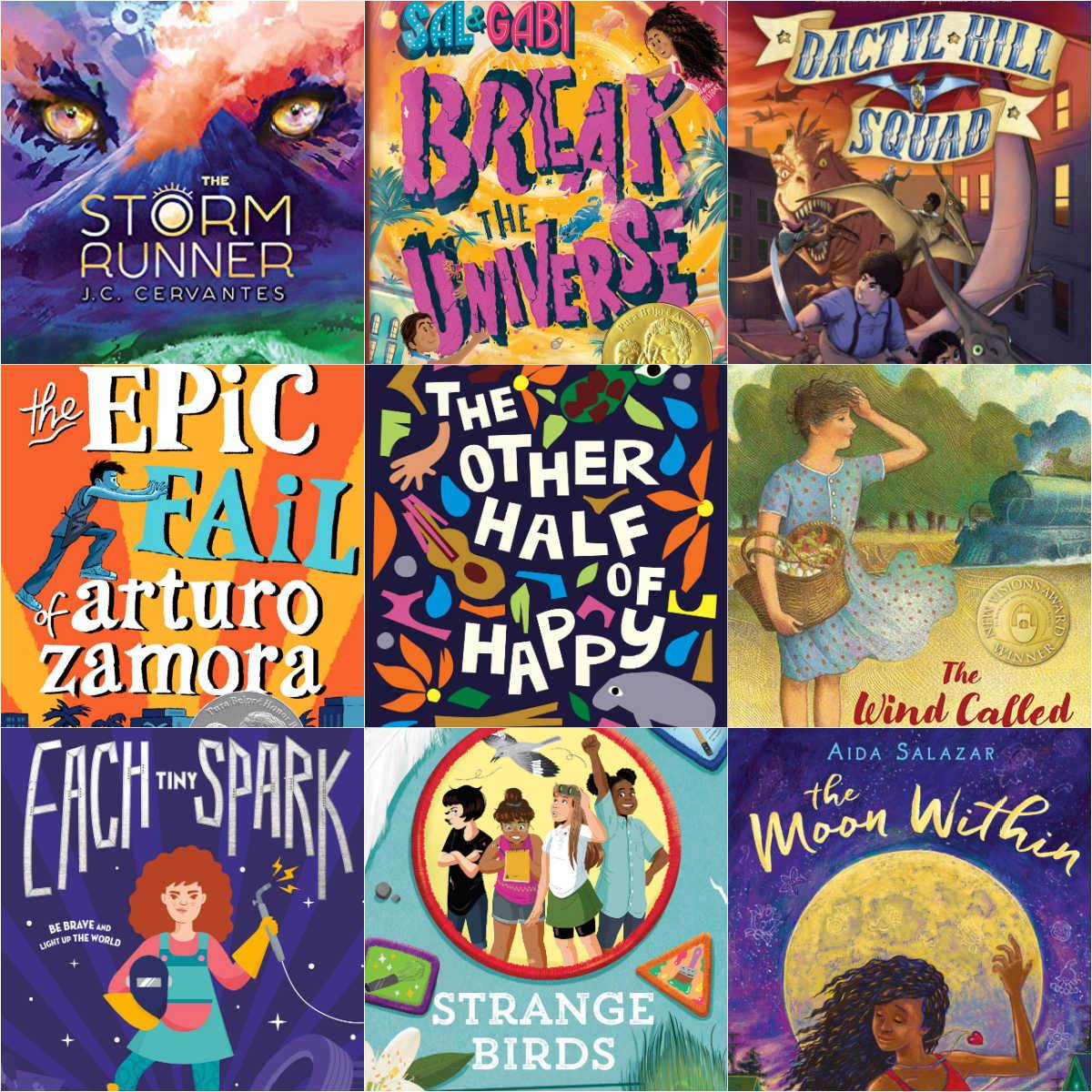 collage of middle grade books with latino and hispanic characters