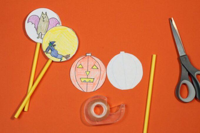 Materials to make a Halloween thaumatrope