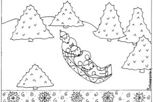 Sledding coloring page printable