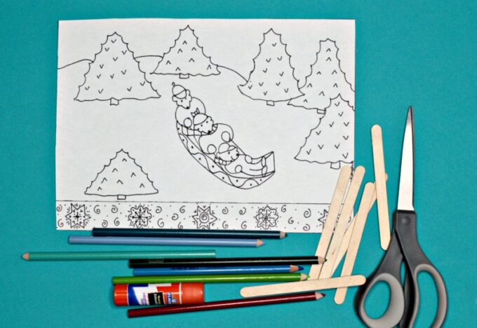 Bears on a sled coloring page