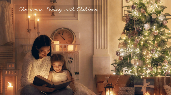 Reading Christmas poems for kids by the holiday tree