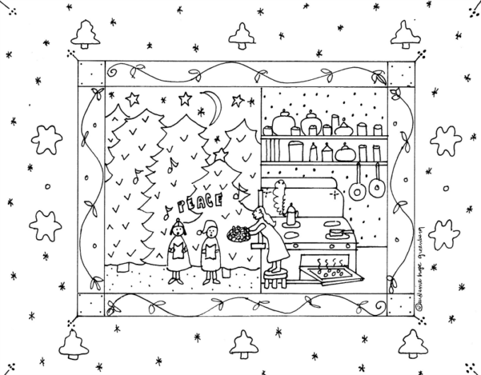 Christmas caroling and kindness coloring page