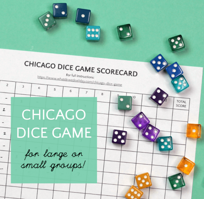 Chicago dice game score card and dice