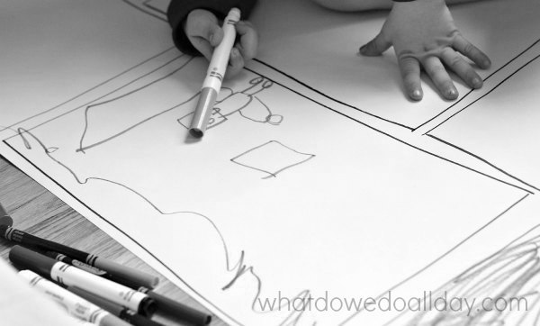 Drawing comics on big piece of paper