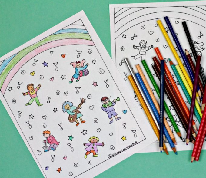 Musical children coloring page