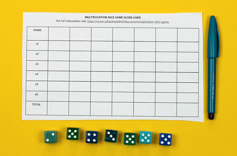 multiplication dice game scorecard and dice
