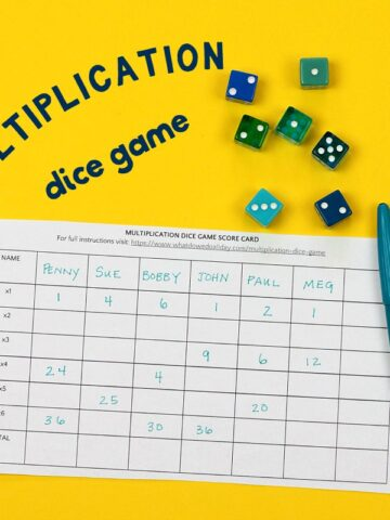 Multiplication dice game with scorecard