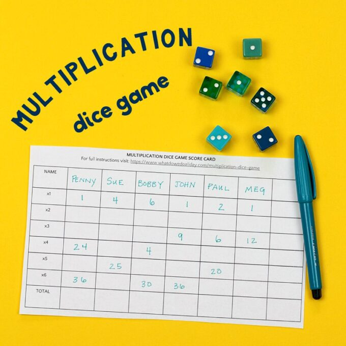 Multiplication dice game with scorecard