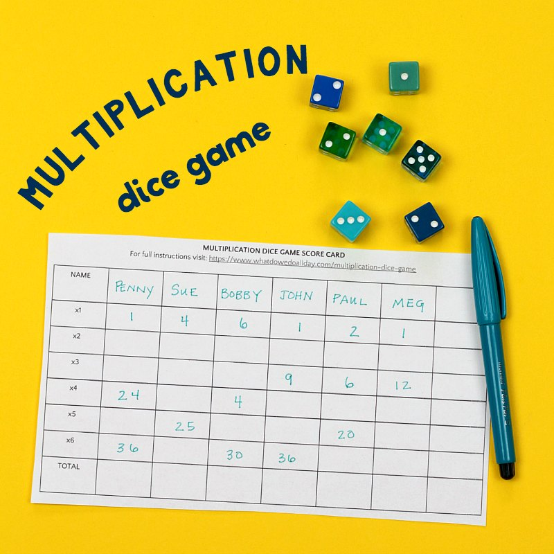 Fun And Simple Multiplication Dice Game