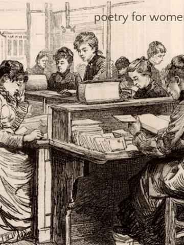 Women reading poetry in vintage illustration
