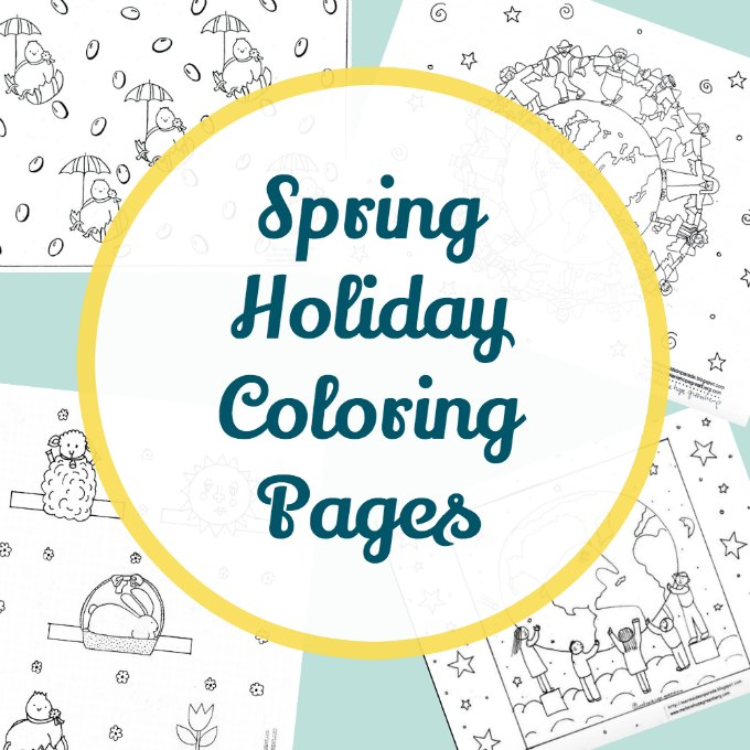 Spring holiday coloring page printables