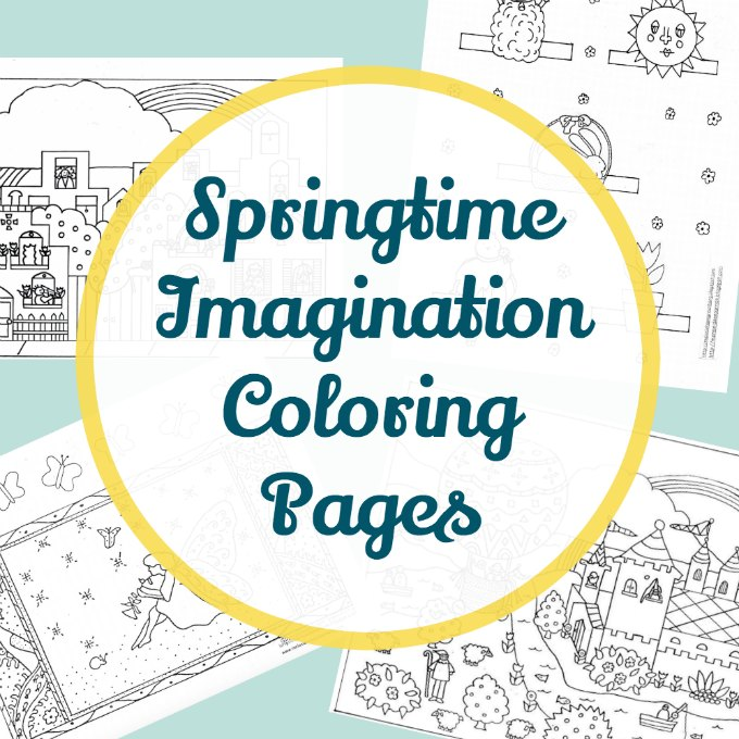 Springtime story time coloring pages