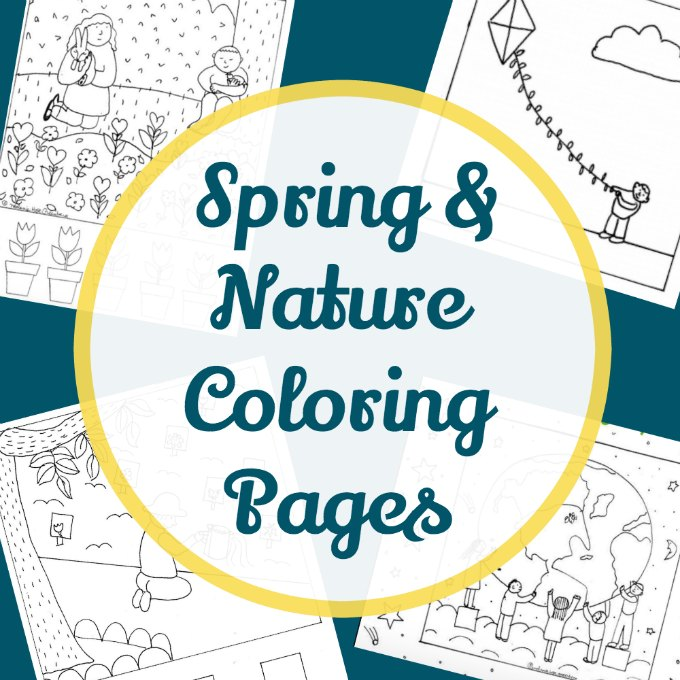 Outdoor springtime coloring sheets for kids