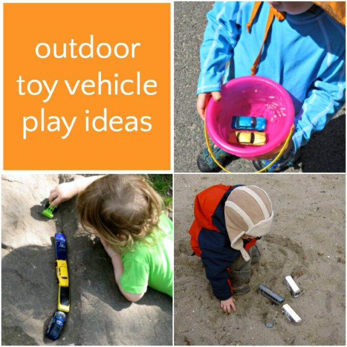 Toy cars outside play