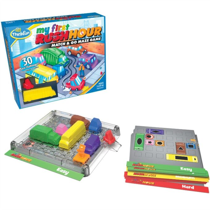 My first rush hour game for preschoolers showing box, puzzle cards and plastic board with vehicles