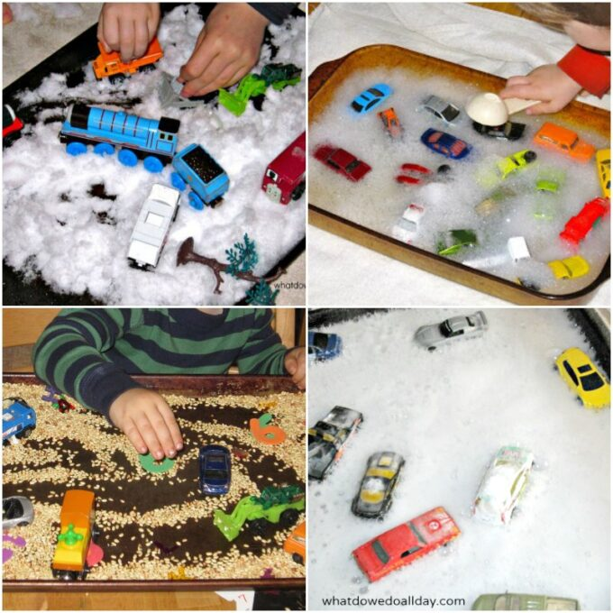 Different ways to use toy cars in sensory play.