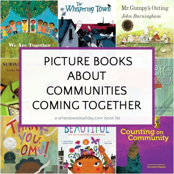 Picture books about communities coming together - collection of book covers and text