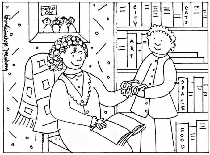 Pajama coloring page with mother and son reading