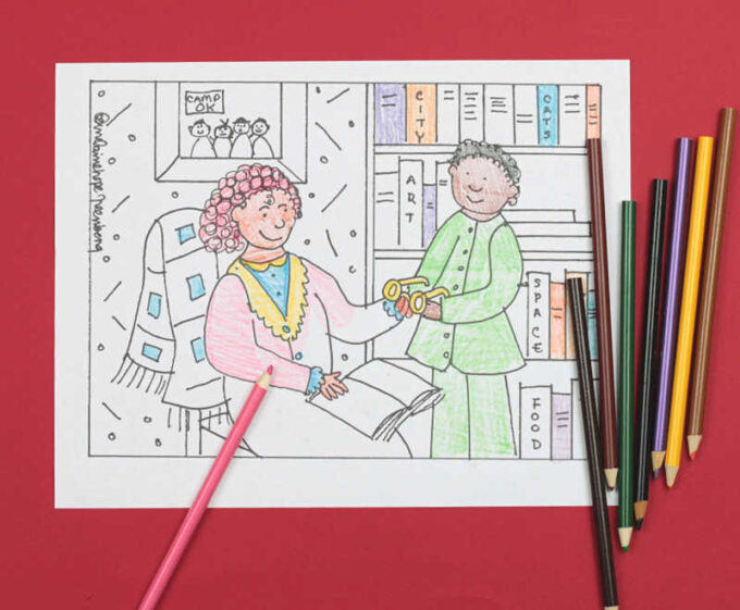 Pajama Day Coloring Page with colored