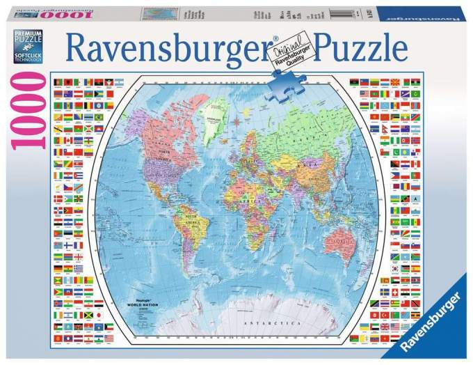 world atlas and flag puzzle in box