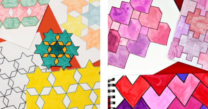 Heart and star tessellation drawings
