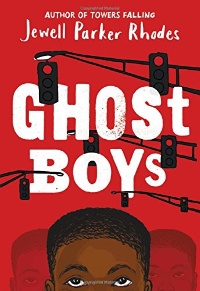 Ghost Boys book cover with Black boy face and traffic lights