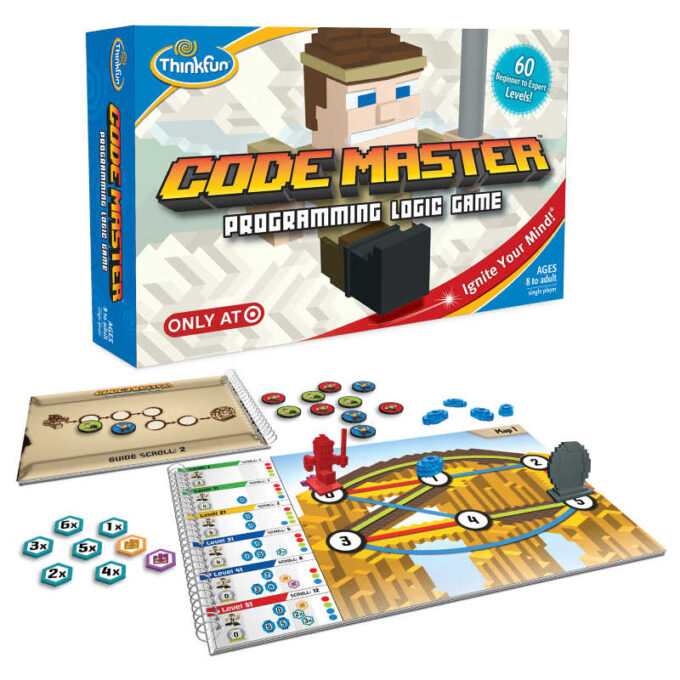 Code Master game box, flippable board and round tokens