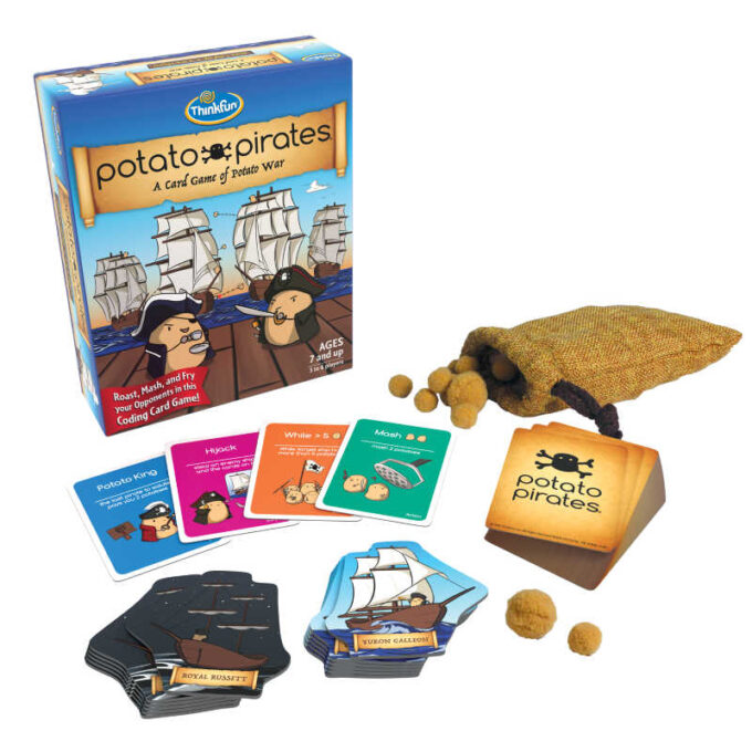 Potato Pirates card game with deck of cards, paper ships and cotton potatoes