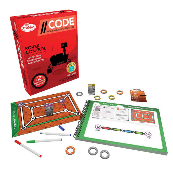 Code rover game with flippable book, tokens, markers