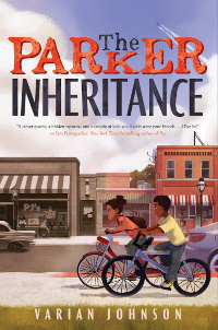 The Parker Inheritance book cover with two Black children riding bicycles