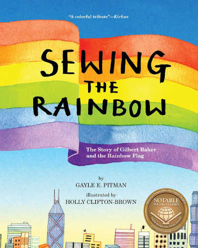 Sewing the Rainbow book cover with rainbow flag