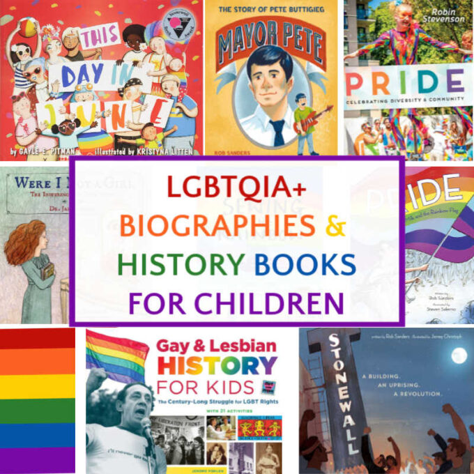 Collage of lgbtq picture books for kids
