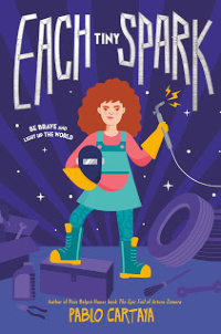 Each Tiny Spark book cover featuring girl with auto fixing equipment
