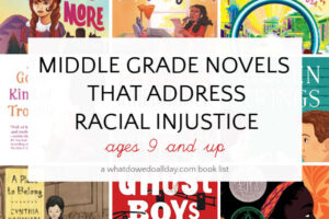 Collage of book covers of middle grade novels that address racial injustice