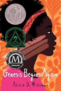 Genesis begins again book cover with side profile of Black girl