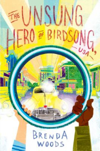 The Unsung Hero of Birdsong USA book cover with black and white hands holding ring over yellow car in city