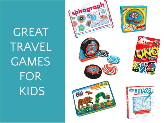 6 travel games for kids including maze, card deck, word game