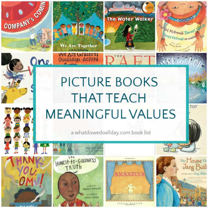 collage of picture book covers for children's books about values